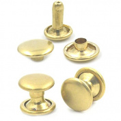 "Bluemoona 100 Sets - Brass Double Round Cap Rivet Stud Rapid Leather 6mm 1/4"""