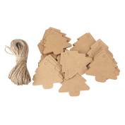 FENICAL Christmas Tree Kraft Paper Brown Paper Craft Gift Tags Label Paper Tags with 10M Rope Pack of 25pcs