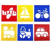 yueton Pack of 6 Assorted Colour Traffic System Vehicle Drawing Painting Stencils Templates for Kid Craft, School Project