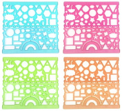 yueton 4 Pairs Colourful Transparent Plastic Washable Drawing Painting Stencils Scale Template Sets Graphics Stencils Rulers for Kid Craft, School Project