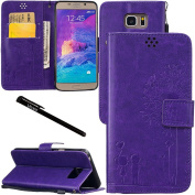 Galaxy Note 5 Case, Urvoix Credit Card Holder Leather Cover Embossed Romantic Dandelion Folio Case for for for for for for for for for for for Samsung Galaxy Note5 N920, Purple