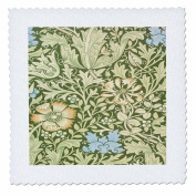 Florene Arts And Craft William Morris Designs - Image of William Morris Green And Blue Floral Pattern - 36cm x 36cm quilt square