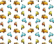 Vespas and Cars Rolled Gift Wrap Paper 2 Full Sheets 70cm x 100cm