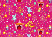 Circus Themed Rolled Gift Wrap Paper 2 Full Sheets 70cm x 100cm