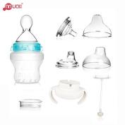 MUAI 3 IN 1 Multi-functional Feeding Bottle, BPA FREE Silicon Bottle Gift Set