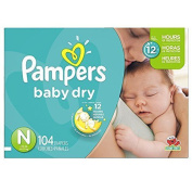 Pampers Baby Dry Nappies Flexible Snug Soft overnight protection , Size N, Super Pack, 104 Count