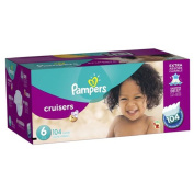 Pampers Size 6 104 Count Extra Absorb distribute wetness Cruisers Nappies Economy Plus Pack