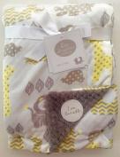 Big Imagination Baby Blanket, Reversible, 80cm x 100cm , yellow/grey, zoo animals