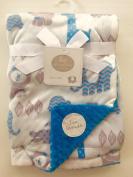 Big Imagination Baby Blanket, Reversible, 80cm x 100cm , blue/grey, zoo animals