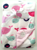 Sweet Lullaby Reversible Baby Blanket 80cm x 100cm , happy whales design