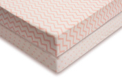 Ely's & Co Pack n Play , Portable mini Crib Sheet Set 100% Jersey Cotton Pink Chevron and Polka Dots for Baby Girl, 2 Pack