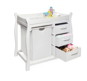 Badger Basket White Baby Changing Table Stationwith Hamper and Three Baskets Dresser Cabinet