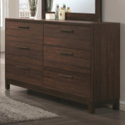 Coaster Edmonton 204353 150cm Dresser with Six Dovetail Drawers in Rustic Tobacco & Dark Bronze