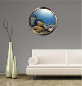 90cm Porthole Ship Sea Window Ocean View TROPICAL REEF FISH #1 PEWTER Wall Sticker Kids Decal Baby Room Home Art Décor Den Mural Man Cave Graphic LARGE