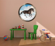 90cm Porthole Ship Sea Window Nature View HORSE IN SNOW #1 PEWTER Wall Sticker Kids Decal Baby Room Home Art Décor Den Mural Man Cave Graphic LARGE