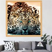 MEXUD-5D DIY Stitch Craft with Diamond Painting Quiet Leopard Animal Diamond Embroidery Diamond Painting for Home Decor