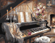 YEESAM ART Paint by Number Kits for Adults Kids - Piano 41cm x 50cm Linen Canvas