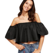 XILALU Women casual Sexy Flare Sleeve Strapless Tops Blouse