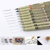 Sakura 9 Pcs Pigment Liner Pigma Micron Ink Fine Line Pen Set 005 01 02 03 04 05 08 1 Brush, Black, Made in Japan