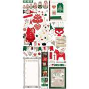 Bo Bunny Merry & Bright Noteworthy Die-Cut Journaling & Accents Christmas Cardstock 20313663