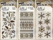 Tim Holtz Layering Stencil 3-pack Winter Holiday Christmas set - Holiday Knit, Snowflakes, and Festive
