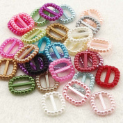 Summer-Ray.com 500pcs Acrylic Pearl Rectangle Buckle/Ribbon Slider