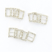Tinksky 10pcs Square Shaped Rhinestone Studded Ribbon Buckle Sliders for DIY Craft Wedding Favours