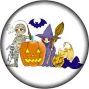 Snap button Halloween Mummy Witch Pumpkin Bat 18mm Cabochon chunk charm