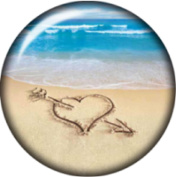 Snap button Love Beach Heart Arrow Sand art 18mm Cabochon chunk charm