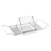 Jumbo Expands To 120cm Long Chrome-Plated Bathtub Caddy, Has An Oversized Rack And Two Extra Deep Baskets