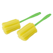 uxcell® Kitchen Glass Cup Bottle Washing Sponge Brush Cleaning Tool 2 Pcs Yellow