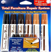 Beautyko Ideaworks 12-Piece Wood Touch-Up Markers and Wax Sticks for Repairing Scratches and Dings in Wood Furniture and Floors