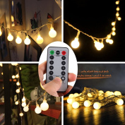 Dimmable Globe String lights,Dreamworth 5m 50 LED Outdoor Globe String Lights 8 Modes Battery Operated Frosted White Ball Fairy Light