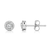 Noray Designs 14K White Gold Diamond (0.35 Ct, G-H, SI2-I1) Cluster Round Shape Stud Earrings