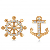 Allurez Anchor and Ship's Wheel Diamond Mismatched Earrings set in 14k White Gold
