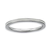 Sterling Silver Stackable Expressions White Enamelled 1.5mm Ring