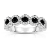 Noray Designs 14K White Gold Black and White Diamond (0.35 Ct, G-H Colour, SI2-I1 Clarity) Ring