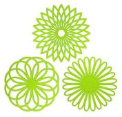 Creative Geometric Flower Pattern Pot Holders Nonslip Insulation Mats Green