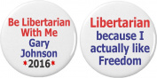 Set 2 Be Libertarian Freedom Gary Johnson for President 5.7cm Bottle Openers w/ Keyring