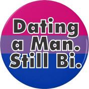 Dating a Man. Still Bi. Bisexual Flag 5.7cm Bottle Opener w/ Keyring LGBT