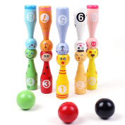 SUNONE11 10 Animals Pins 3 Balls Wooden Bowling Ball Games Toys 1-10 Number Colour Recognition Education Kids Creative Birthday Present Christmas Gift