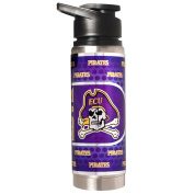 NCAA East Carolina Pirates Double Wall Stainless Steel Water Bottle with Metallic Graphics, 590ml, Silver
