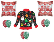 New!!! UGLY CHRISTMAS SWEATER Party Balloons Decoration Supplies 9 pieces