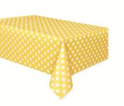 Polka Dot Plastic Tablecloth, 270cm x 140cm , Yellow