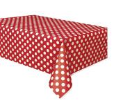 Polka Dot Plastic Tablecloth, 270cm x 140cm , Red