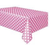 Polka Dot Plastic Tablecloth, 270cm x 140cm , Hot Pink (Hot Pink