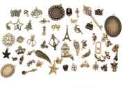 ALL in ONE Mixed Antique Bronze Alloy Pendants Beads Charms Chains Connectors Jewellery Findings : Animal, Tree, Flower, Star, Love, Crown, Key, Lock, Cross, Angel, Wing