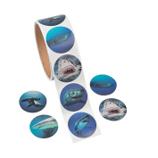 Photo Realistic Shark Stickers - 100 Stickers Per Roll, Shrink-wrapped