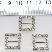 50pcs 15mm Silver Square Shaped Rhinestone Buckle Slider for Wedding Invitation Letter