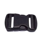 5pcs 1.9cm Plastic Side Release Buckles 2-Adjusting Black